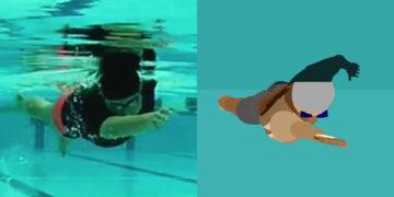 クロールの姿勢を高く維持する泳ぎ方